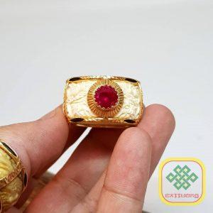 Nhẫn ngà chạm rồng viền vàng 18K – VB045