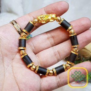 Vòng tay trầm hương bọc vàng tỳ hưu như ý 24K9999 – VTTH117